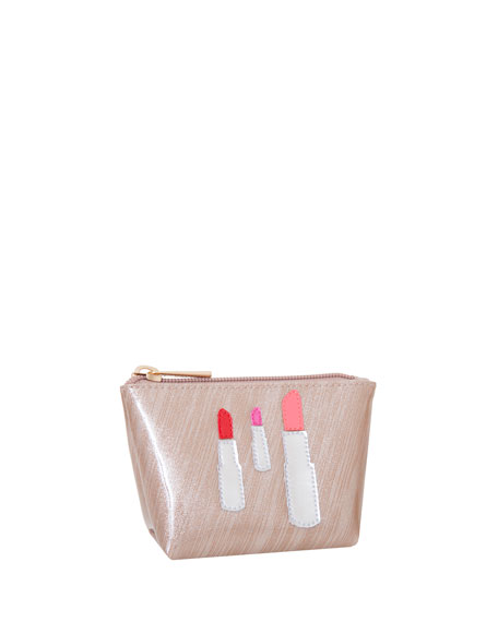 Mini Avery Cosmetics Bag, Brushed Rose Gold Lipstick
