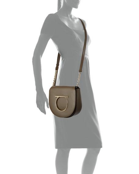 Large Gancio Leather Shoulder Bag, Taupe
