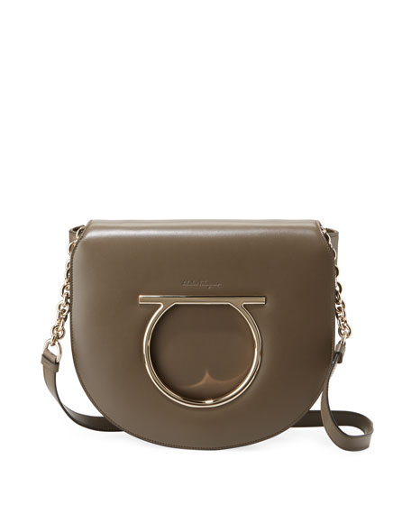 Salvatore Ferragamo Large Gancio Leather Shoulder Bag, Taupe