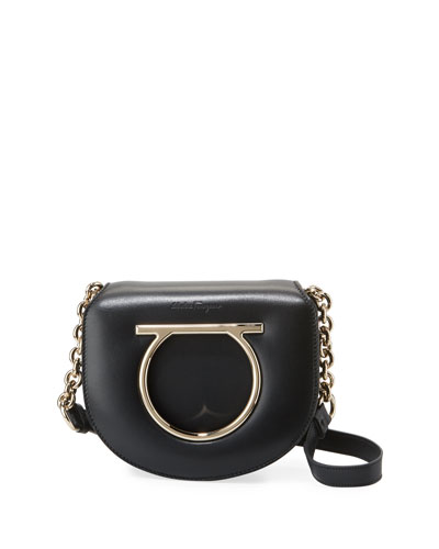 Small Lock Gancio Crossbody Bag, Black
