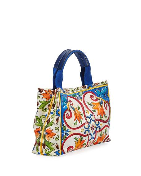 Girls' Maiolica Print Top Handle Bag