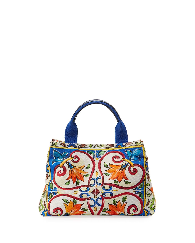 2583ea6129 Dolce & Gabbana Girls' Maiolica Print Top Handle Bag | Neiman Marcus