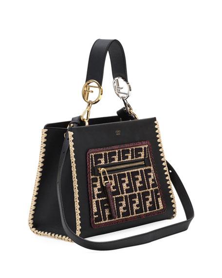 Runaway Leather & FF Raffia Shoulder Bag