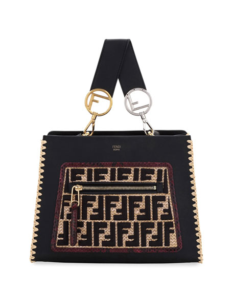 Fendi Runaway Leather & FF Raffia Shoulder Bag