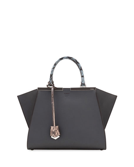 Fendi 3Jours Medium Leather & Snake Tote Bag