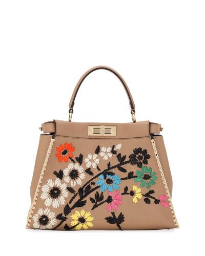 Peekaboo Regular Calf Tote Bag with Silk Flowers