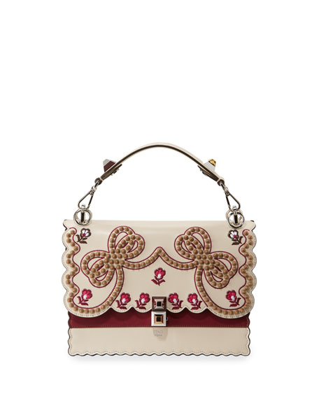 Kan I Medium Bow Embroidered Shoulder Bag