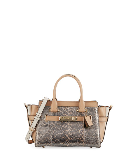 Swagger 27 Pearlized Snakeskin Top Handle Bag