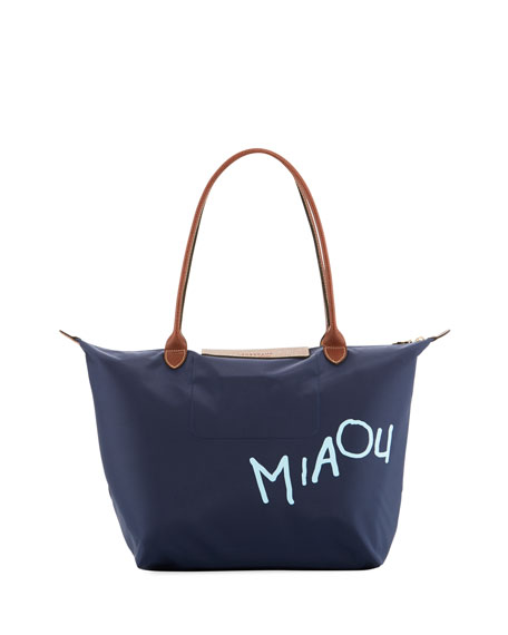 Le Pliage Miaou Cat Large Shoulder Tote Bag