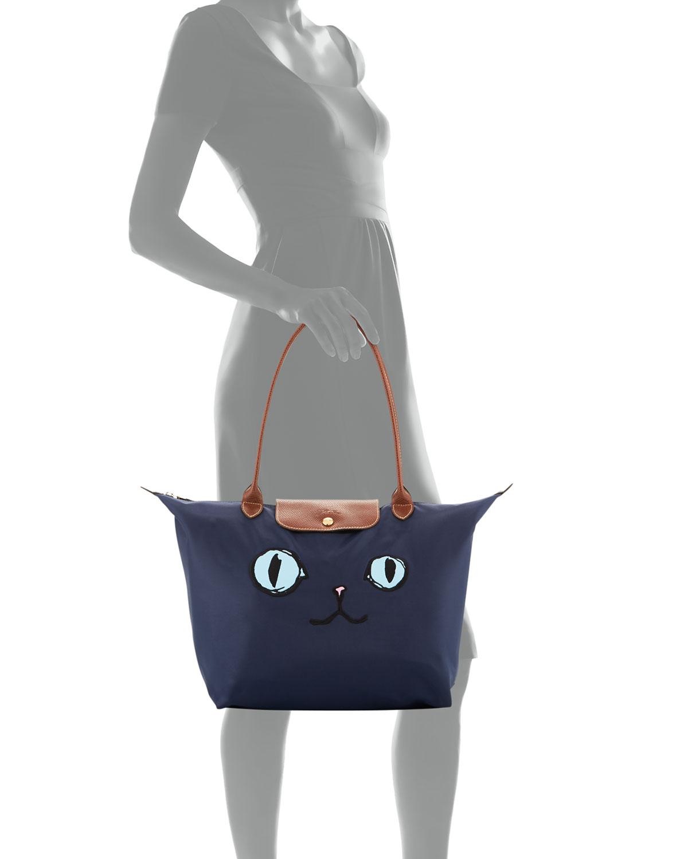 Le Pliage Miaou Cat Large Shoulder Tote Bag