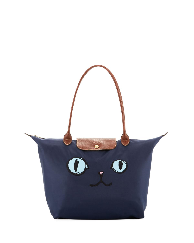 Longchamp Le Pliage Miaou Cat Large Shoulder Tote Bag  fc79a54dff0a1