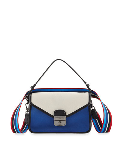 Mademoiselle Colorblock Canvas Toile Crossbody Bag, Blue