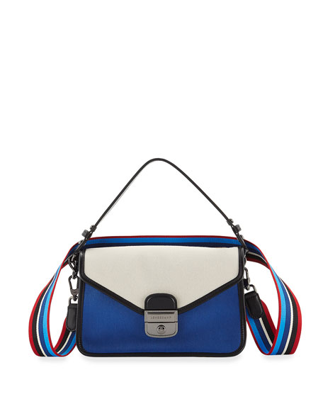Longchamp Mademoiselle Colorblock Canvas Toile Large Crossbody