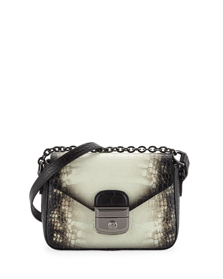 Longchamp Le Pliage Heritage Small Croc-Embossed Crossbody Bag