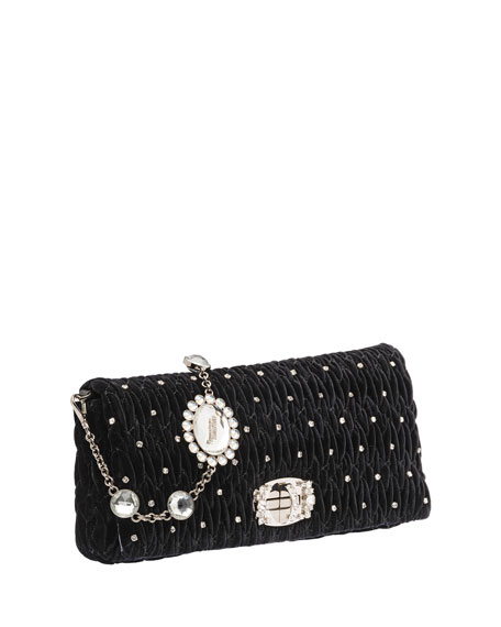 Crystal-Studded Velvet Crossbody Bag