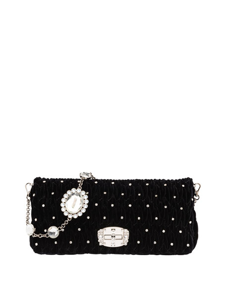 Miu Miu Crystal-Studded Velvet Crossbody Bag