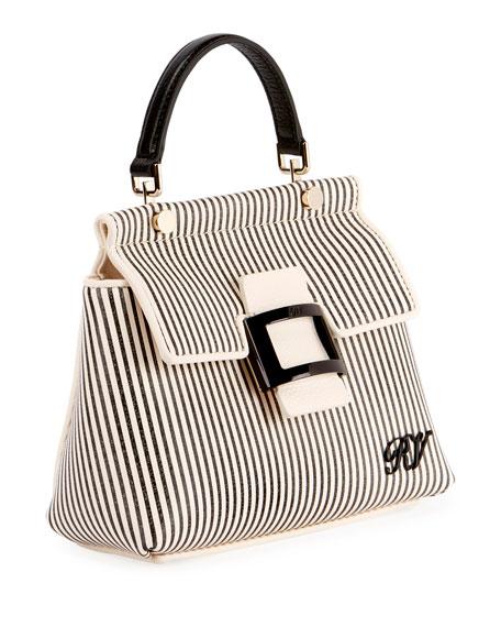 Viv Cabas Mini Shirting Striped Top-Handle Bag