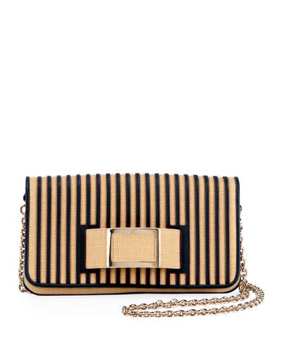 Keep It Viv Shirting Straw Shoulder Bag, Neutral