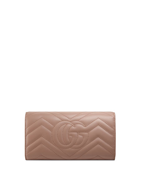 GG Marmont Quilted Continental Flap Wallet