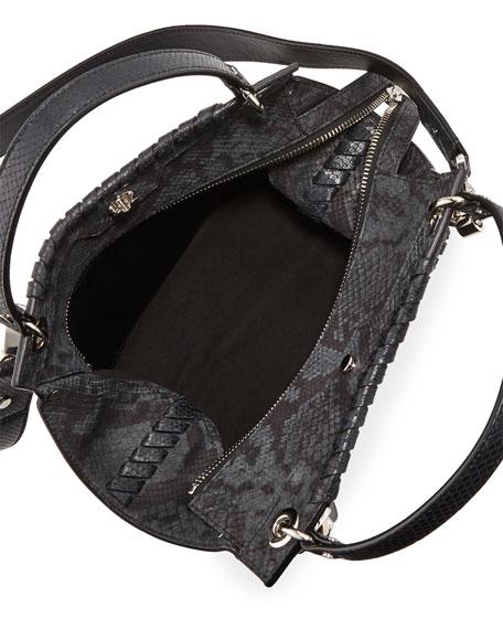 Curl Embossed Python Shoulder Bag