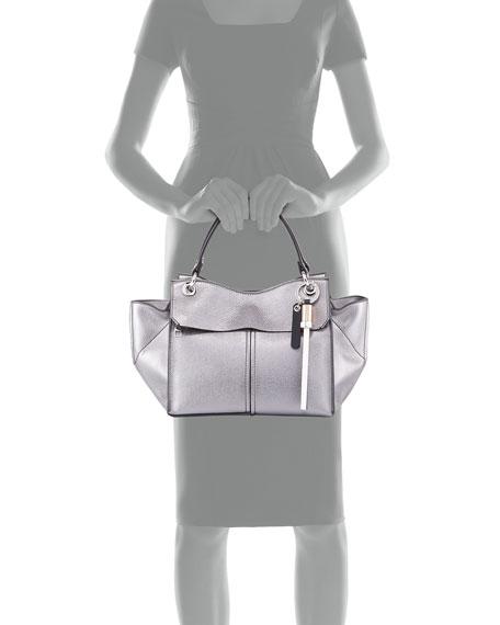 Curl Metallic Grain Leather Top-Handle Bag