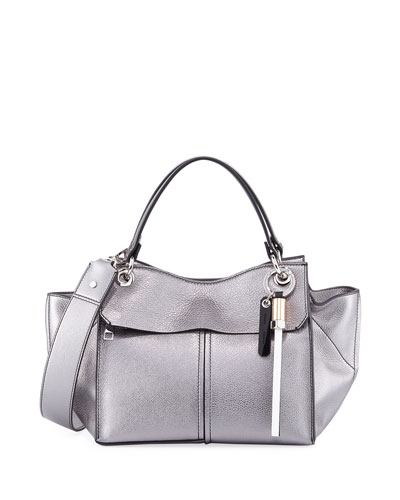 Curl Metallic Grain Leather Top-Handle Bag