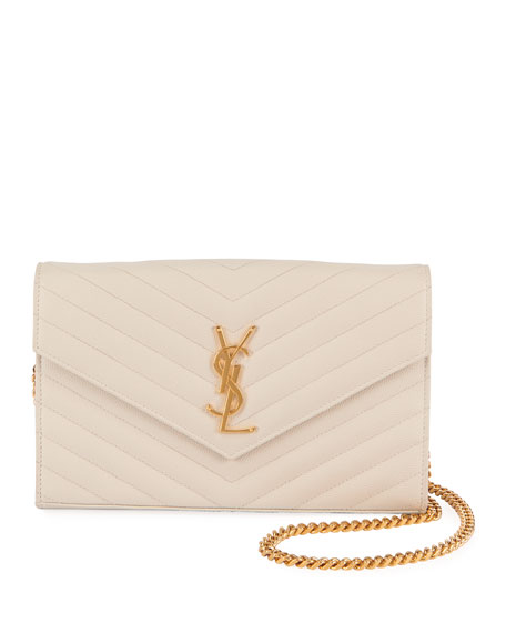 Saint Laurent Monogram Matelasse Wallet-on-a-Chain, Black