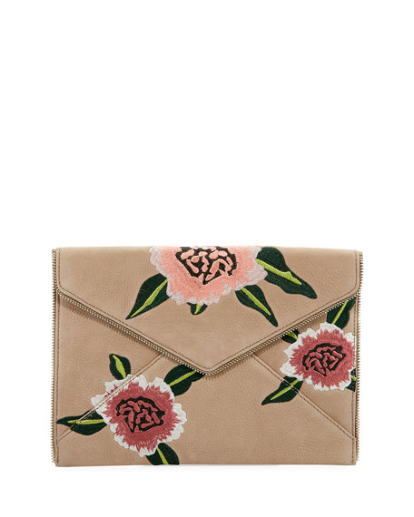 Rebecca Minkoff Leo Floral Embroidered Envelope Clutch Bag