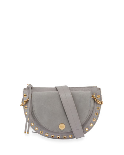 Kriss Small Grommet Crossbody Bag, Sky