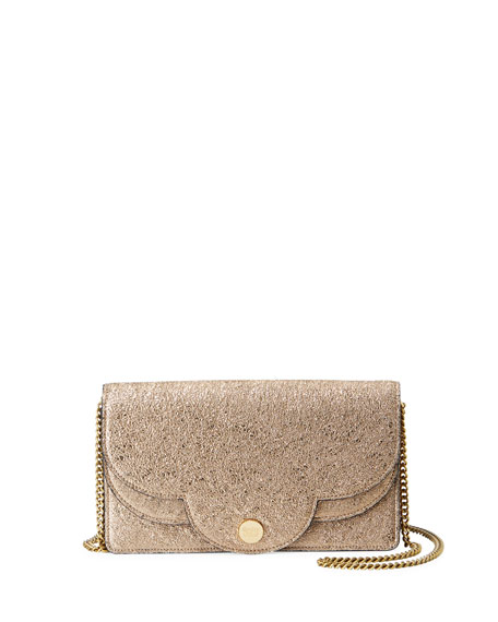 Polina Crackled Crossbody Wallet On A Chain, Metallic