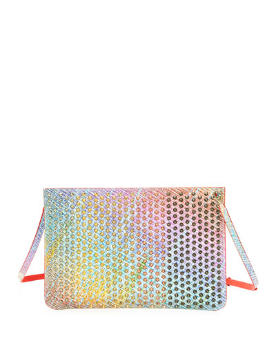 Loubi Suede Unicorn Spikes Clutch Bag