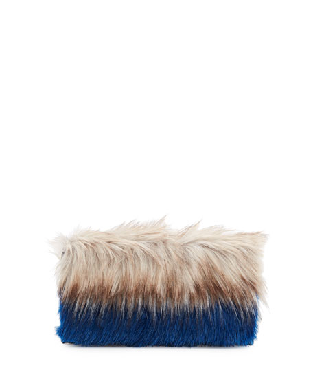 Colorblock Faux-Fur Clutch Bag