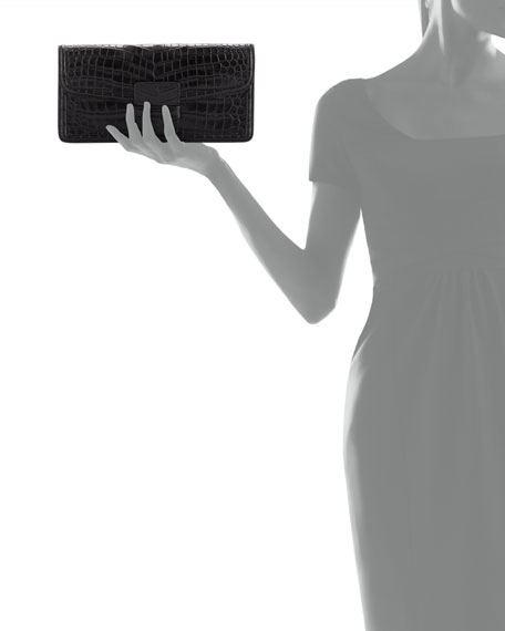Crocodile-Embossed Clutch Bag