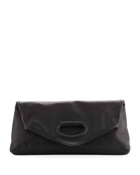 Fold-Over Leather Clutch Bag