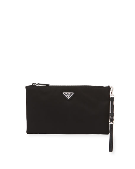 Vela Small Zip Pouch Clutch Bag, Black