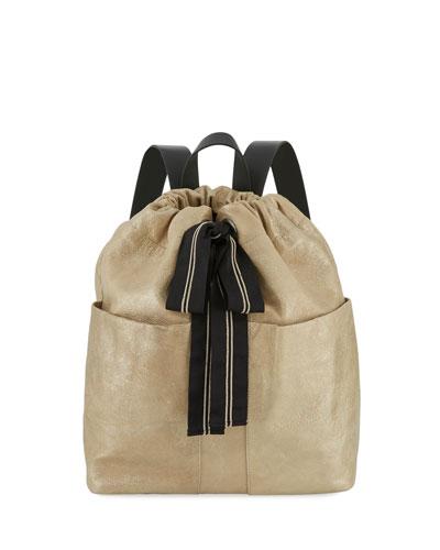Glitter Leather Backpack with Monili Ribbon