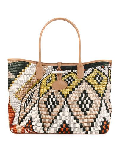 Roseau Paniers Dart Shoulder Bag, Lime/Sienna