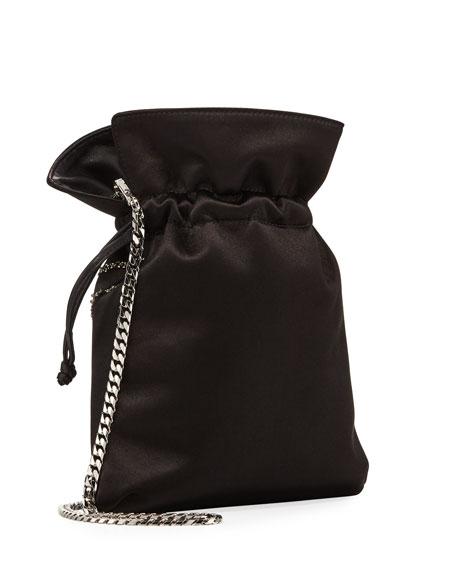 Trilly Dragoon Satin Bucket Bag, Black