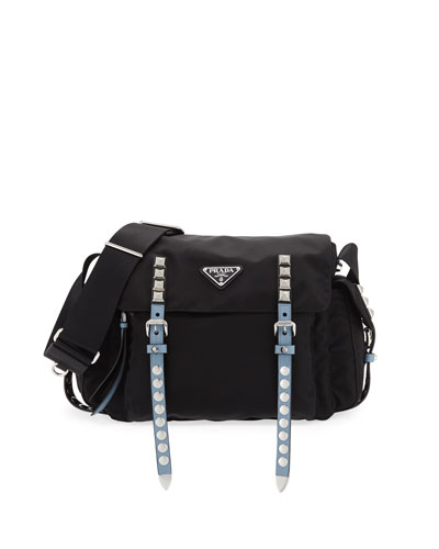 Prada Medium Nylon Messenger Bag with Studding