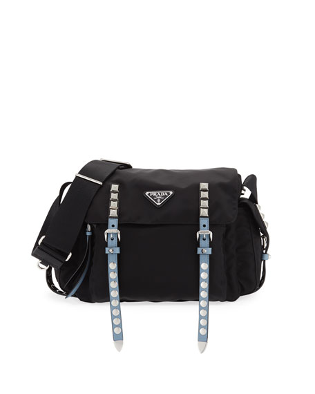 Prada New Vela Small Nylon Messenger Bag, Black/Blue