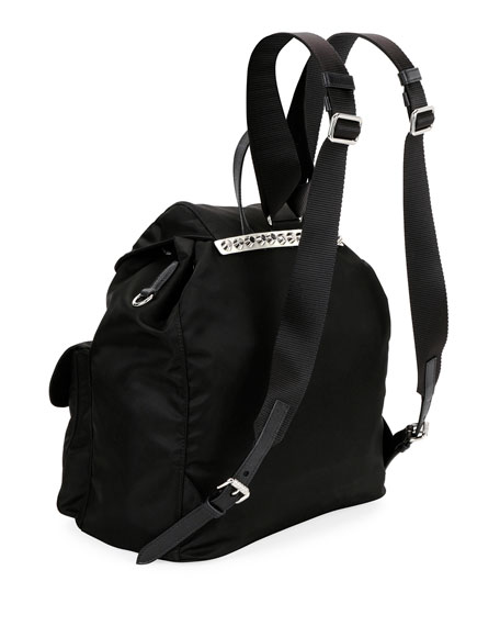 Black Nylon Messenger Backpack with Studding