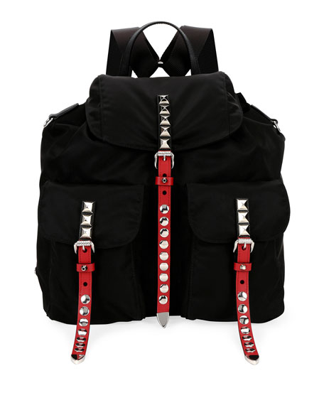 Prada Black Nylon Messenger Backpack with Studding