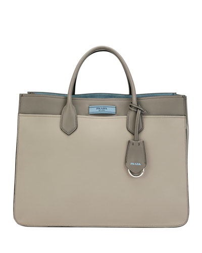 Etiquette Large City Calf Tote Bag, Light Gray