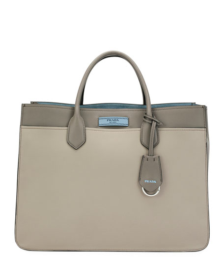 Prada Large Prada Dual Tote, Light Gray