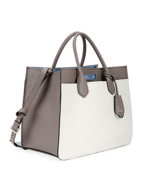 Medium Prada Dual Tote, White/Gray