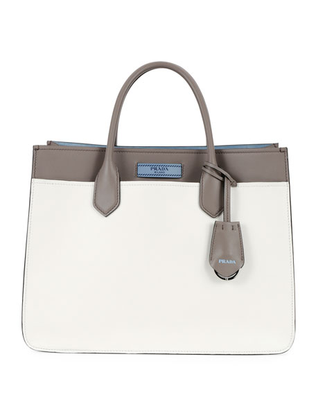 Prada Etiquette Medium City Calf Tote Bag, White/Gray