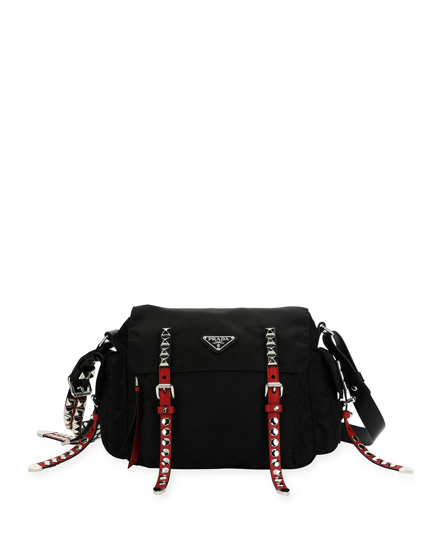 f7929c60e9b2 Prada Medium Nylon Messenger Bag with Studding