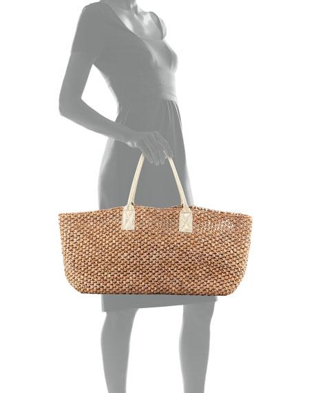 Manarola East-West Straw Beach Tote Bag