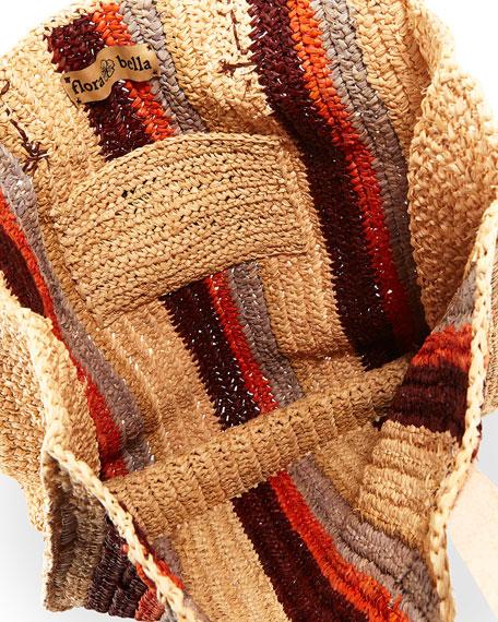 Ravello Striped Crochet Raffia Tote Bag