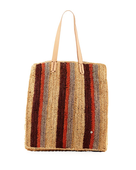 Flora Bella Ravello Striped Crochet Raffia Tote Bag